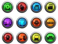 Computer equipment icons set Stock Illustration
