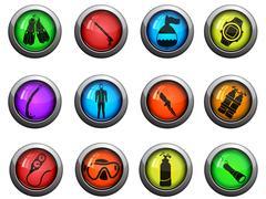 Diving icons set - stock illustration