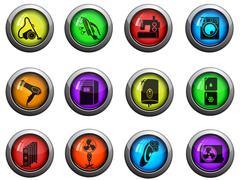 Home appliances icons set - stock illustration