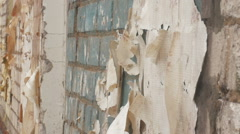 with the remains of a house wall wallpaper - stock footage