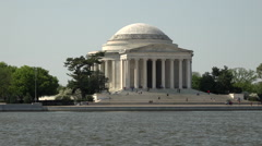 Jefferson Memorial across tidal water Washington DC HD Stock Footage