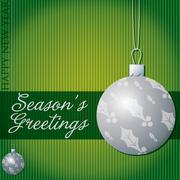 Season's Greetings holly/mistletoe bauble card in vector format. - stock illustration