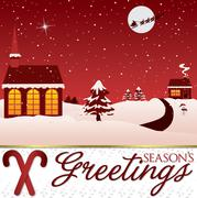 Stock Illustration of Winter Christmas scene card in vector format.