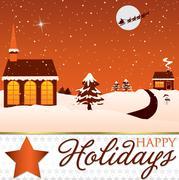 Winter Christmas scene card in vector format. - stock illustration
