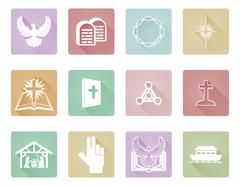 Set of Christian Icons - stock illustration