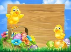 Chicks and Easter Eggs Basket Sign Stock Illustration