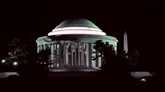 Jefferson Monument night Washington Monument HD Stock Footage