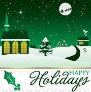 Winter Christmas scene card in vector format. Stock Illustration