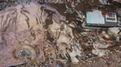 Water oil pollution, litter Stock Footage