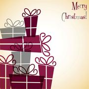 Christmas present overlay card in vector format - stock illustration