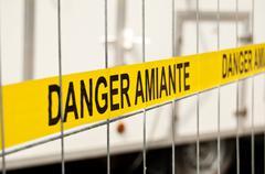 Asbestos site sign Stock Photos