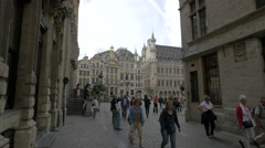 Tourists walking near the City Hall of Brussels Stock Footage