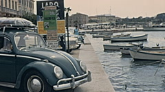 Porec 1967: small boats docking at the port Stock Footage