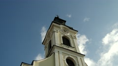 4K Small Christian Roman Catholic Church under Cloudy Sky in Europe 2 Stock Footage