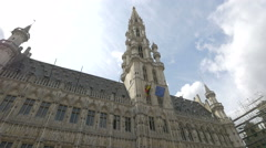 Low angle view of Brussels City Hall's facade Stock Footage