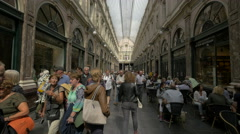 People walking in Saint-Hubert Royal Galleries, Brussels Stock Footage