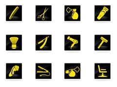 Barbershop icons set - stock illustration
