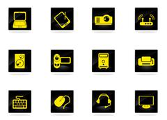 Computer equipment simple vector icons Stock Illustration