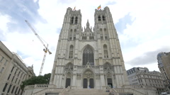 Low angle view of St Michael and St Gudula Cathedral in Brussels Stock Footage