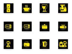 Kitchen Utensils Icon Set - stock illustration