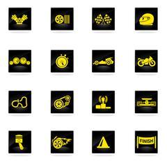 Racing icons set Stock Illustration