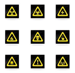 Hazard Sign Icons Stock Illustration
