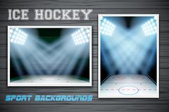 Set Backgrounds of ice hockey arena - stock illustration