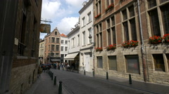 Many tourists gathered on Rue de Chene in Brussels Stock Footage