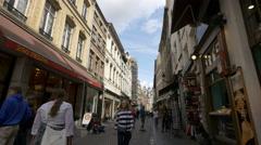 People walking on Rue de l'Etuve in Brussels Stock Footage