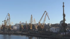 The large crane in the sea port. Stock Footage