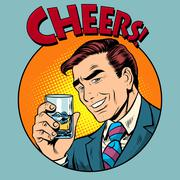 Cheers toast celebration man pop art retro style Stock Illustration