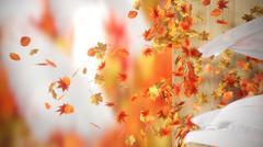 falling and winding Autumn Leaves with curtains background - stock illustration