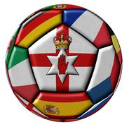 Soccer ball with flags - flag of Northern Ireland in the center - stock illustration