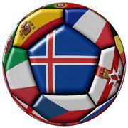 Soccer ball flag of Iceland in the center - stock illustration