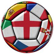 Soccer ball with flag of England in the center - stock illustration