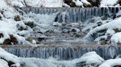 Winter waterfalls in the mountains Stock Footage