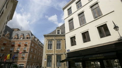 Hotel Amigo and The City Hall of Brussels seen from Rue des Brasseurs - stock footage