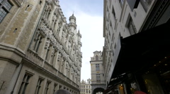 The City Hall of Brussels seen from Rue Charles Buls Stock Footage