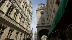 Everard 'T Serclaes seen from Rue Charles Buls, Brussels Stock Footage