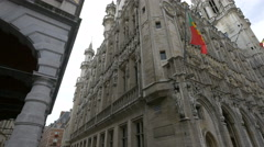 Street view of the City Hall of Brussels Stock Footage
