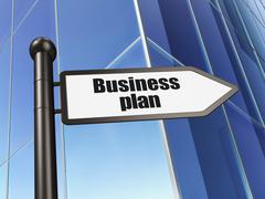 Finance concept: sign Business Plan on Building background Piirros