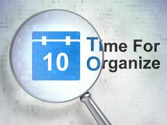 Timeline concept: Calendar and Time For Organize with optical glass Stock Illustration