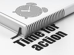 Timeline concept: book Alarm Clock, Time For Action on white background Stock Illustration