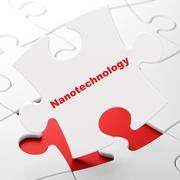 Science concept: Nanotechnology on puzzle background - stock illustration