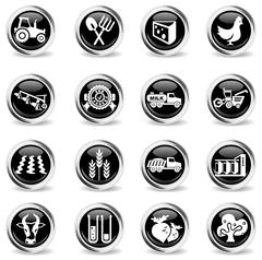 Agricultural icons set - stock illustration