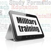 Education concept: Tablet Computer with Military Training on display Stock Illustration