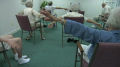 Senior Fitness Class In Retirement Center Stock Footage