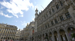 Old buldings with arches and hotels in Grand Place, Brussels - stock footage