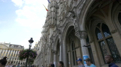 View of the City Hall's arches and decorations in Brussels Stock Footage