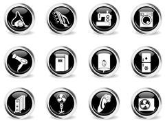 Home Appliances Icon Set - stock illustration